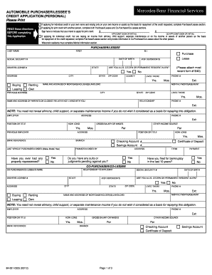 how to fill mercedes-benz personal credit application form