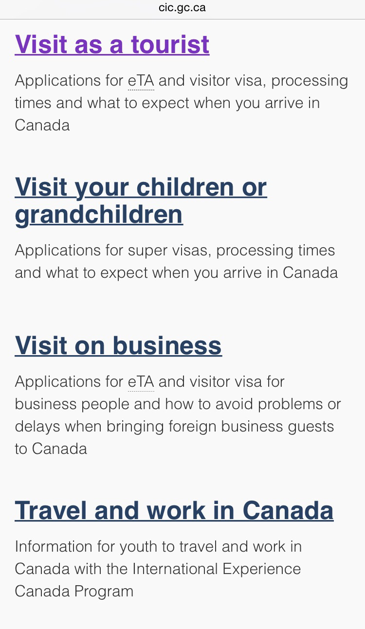 visa application for visiters to canada
