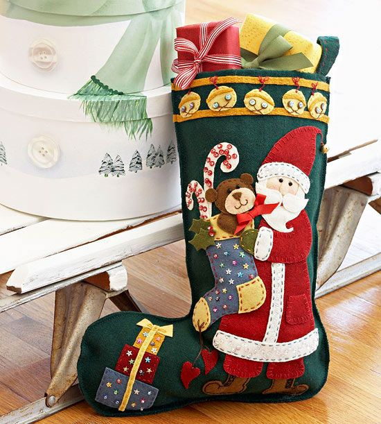 christmas stocking patterns book with felt applique