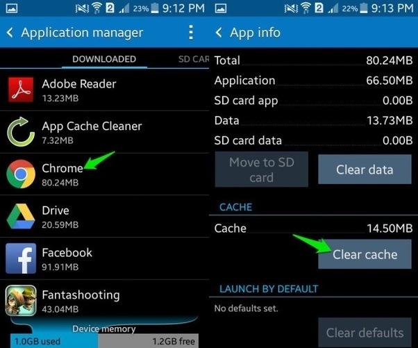 which application caches are taking up storage