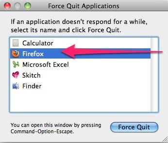how to force quit an application in mac os x