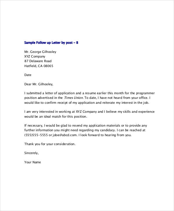 follow up letter after online application