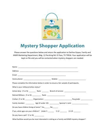 questions on mystery shopper applications