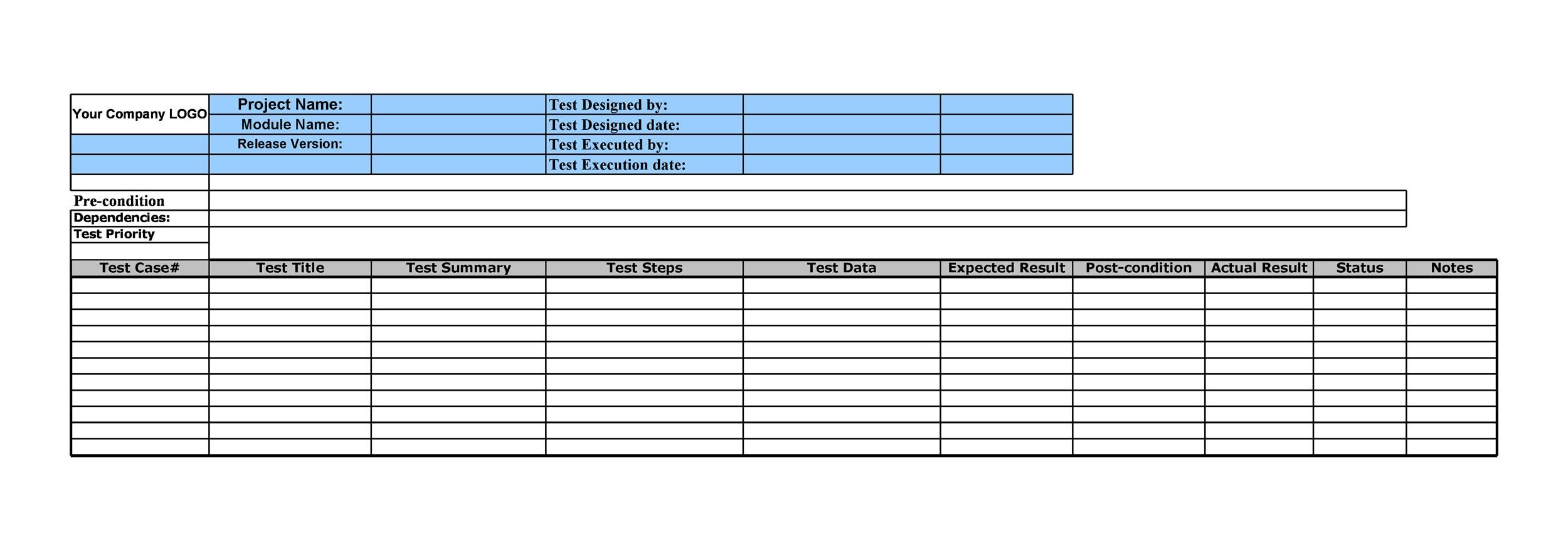 test case template for mobile application testing